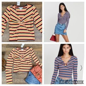 Topshop Tops - TopShop Striped Ribbed Long sleeve size 6 (s) NWT